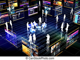 sociale, rete, comunità, linea