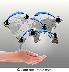 sociale, tenere mani, rete