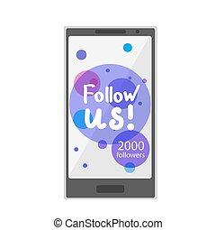 sociale, web, rete, concetto, telefono., illustration., appartamento, media, moderno, disegnare, illustrazione, luogo, vettore, disegno, icons., mani, networks., seguire, ci