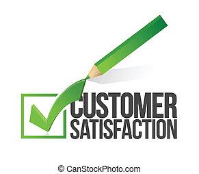 soddisfazione cliente, checkmark, matita