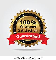 soddisfazione cliente, distintivo, rosso, oro