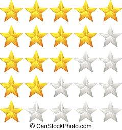 soddisfazione, feedback, concepts., sistema, valutazione, valutazione, good-bad, qualità, vector., stella, element., esperienza, cliente, valore, qualità