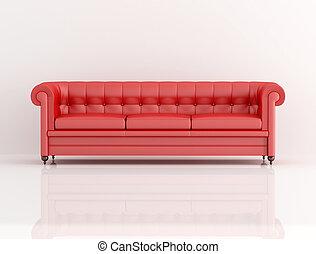 sofà cuoio, rosso, classico
