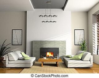 sofà, interpretazione, interno, casa, caminetto, 3d