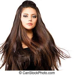 soffiando, capelli lunghi, moda, ritratto, modello, ragazza