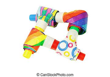 soffiatori, festa, multicolor
