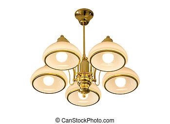soffitto, isolato, lampada, percorso tagliente, bianco