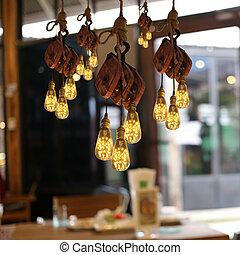 soffitto, moderno, illuminazione, restaurant.