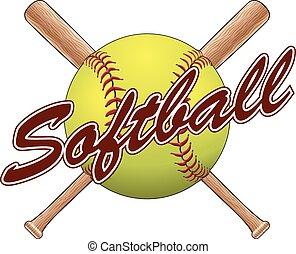 softball, disegno, squadra