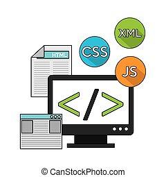 software, linguaggio programmazione, icone