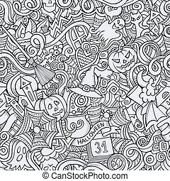 soggetto, halloween, hand-drawn, doodles, cartone animato