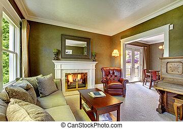 soggiorno, classico, elegante, verde, piano., caminetto