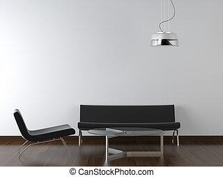 soggiorno, disegno, interno, nero, bianco