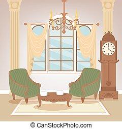 soggiorno, furniture., classico, room., vendemmia, illustrazione, vettore, chandelier., interior., interno, casa, style., retro