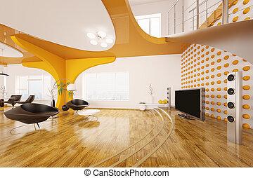 soggiorno, render, moderno, disegno, interno, 3d