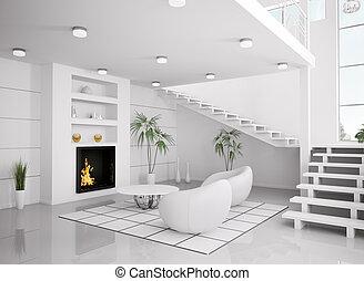 soggiorno, render, moderno, interno, bianco, 3d