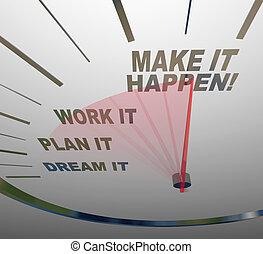 sogno, fare, lavoro, esso, gaol, piano, happen, tachimetro, ottenere