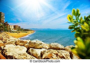 sol., costa, malaga, torremolinos, panoramico, canc, vista, spagna
