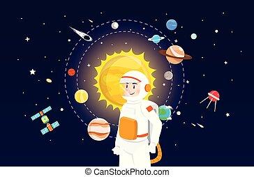 solare, astronauta, disegno, sistema, illustrazione