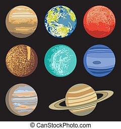 solare, pianeti, vettore, sistema, illustrazione, isolato