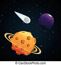 solare, scena, pianeti, sistema