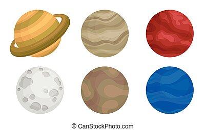 solare, set, luna, sistema, vettore, pianeti, saturno