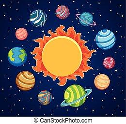 solare, sfondo sole, sistema, pianeti, intorno