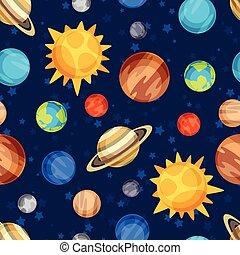 solare, system., modello, cosmico, seamless, pianeti