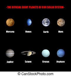 solare, ufficiale, sistema, otto, pianeti, nostro