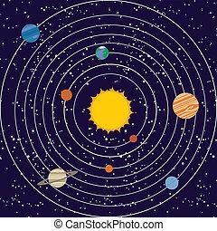 solare, vecotr, illustrazione, sistema