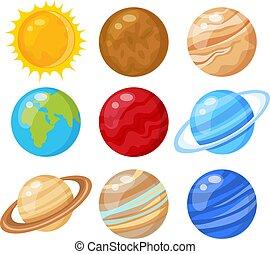 solare, vettore, pianeti, illustrazione, sistema