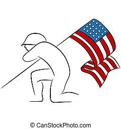 soldato, bandiera americana, presa a terra