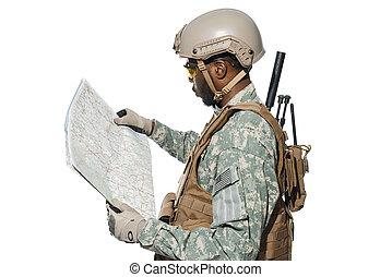 soldato, terreno, map., esplorare