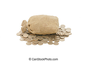 soldi, bianco, monete, isolato, borsa