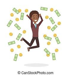 soldi, circondato, saltare, uomo affari, cadere, felice
