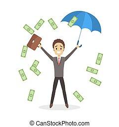 soldi, circondato, saltare, uomo affari, felice, bello