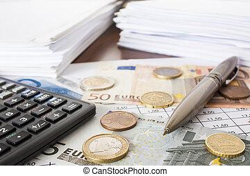soldi, contabilità, effetti, calcolatore