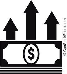soldi, contanti, stile, semplice, prestito, icona