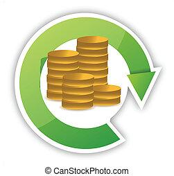soldi, disegno, illustrazione, ciclo
