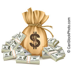 soldi, dollari, sacco, pacchi