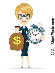 soldi, donna, orologio