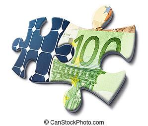 soldi, energia, risparmio, solare