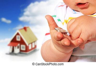 soldi, house., bambino