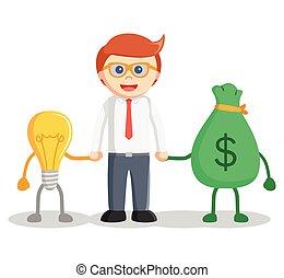 soldi, idea, uomo affari