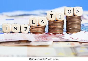 soldi, inflazione, euro, concetto