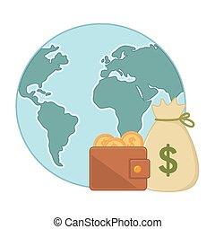 soldi, isolato, illustrazione, pianeta, vettore, disegno