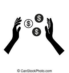 soldi, mano, fondo., vettore, bianco, icona
