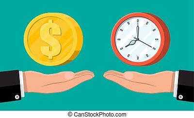 soldi, mano orologio, scale