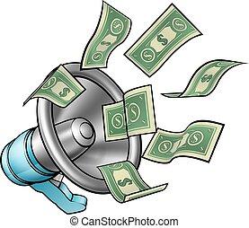 soldi, megafono, concetto, cartone animato