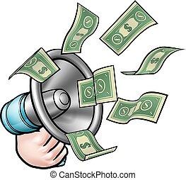 soldi, megafono, concetto